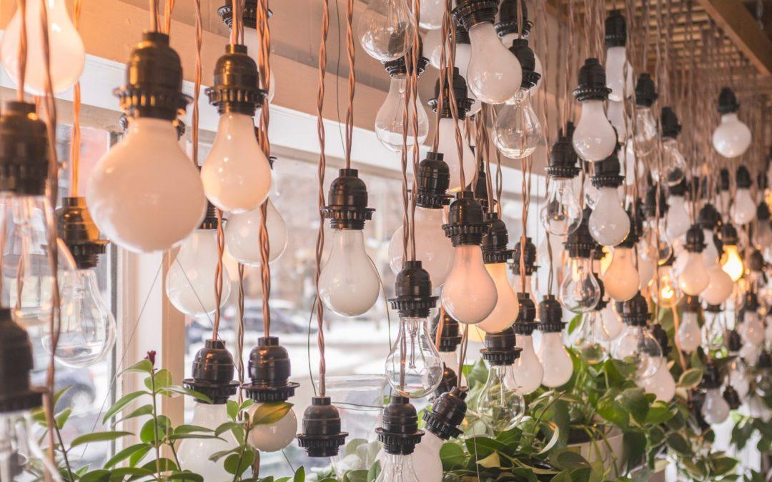 Dozens of hanging lightbulbs