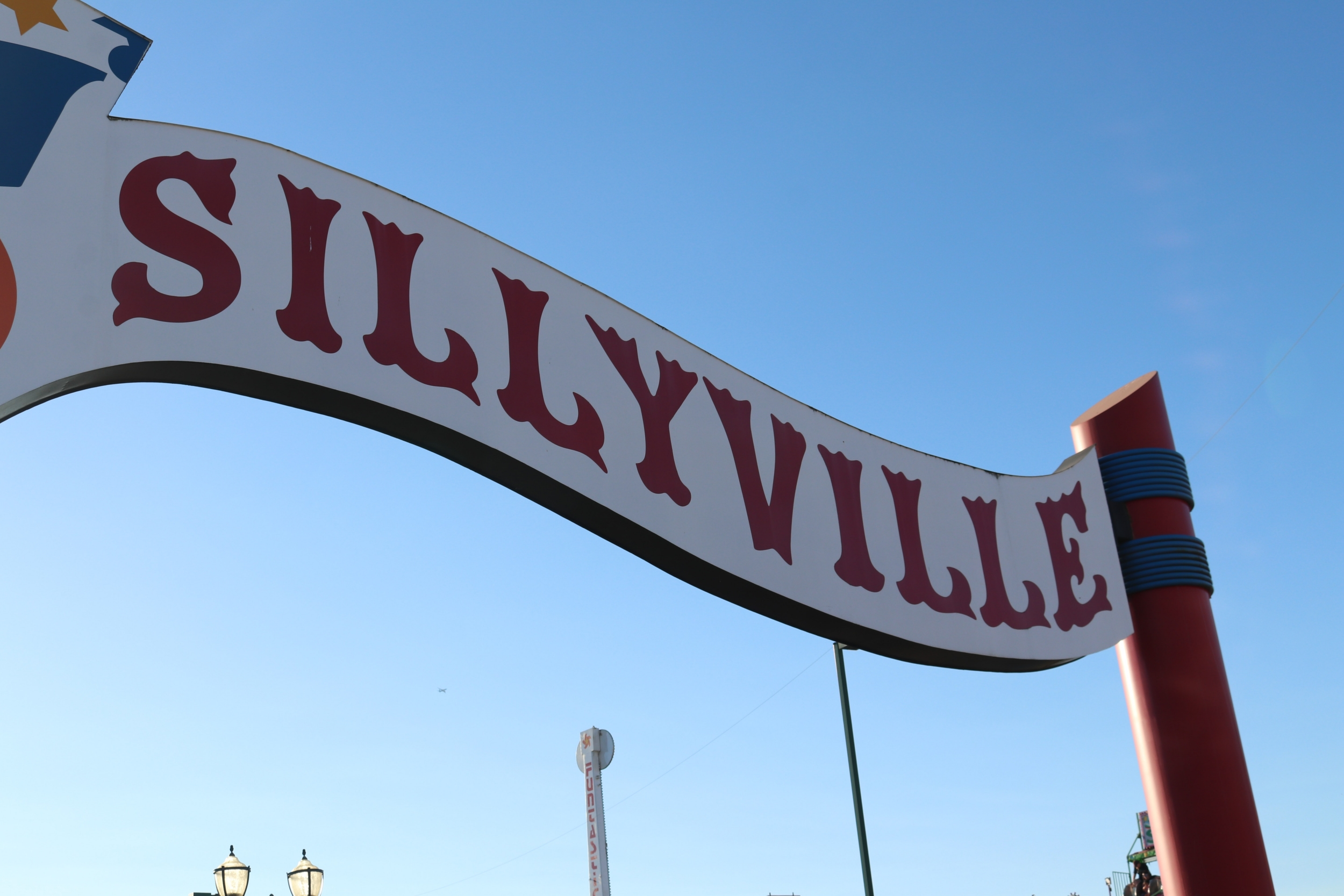 "Amusement park sign that says ""Sillyville"""